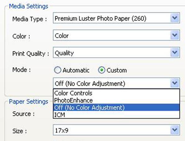 epson 9900 no color adjustment option