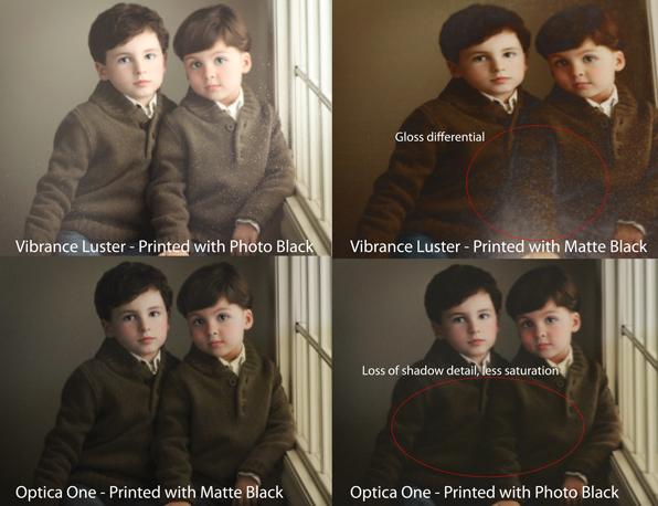 epson 9900 photo black vs. matte black comparison