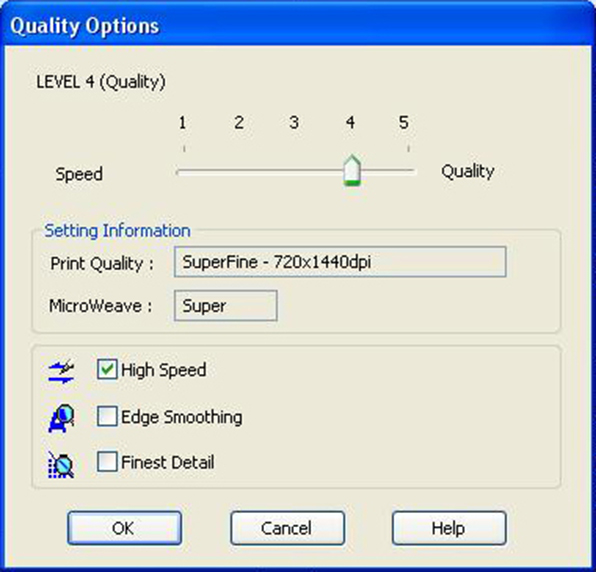 epson 9900 quality options