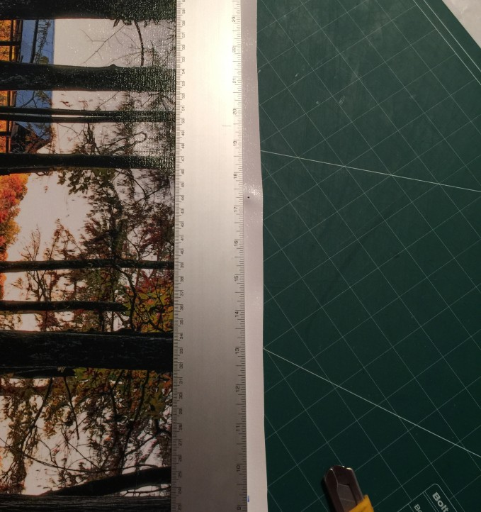 Making the final canvas trim leaving only a 1/2 inch border