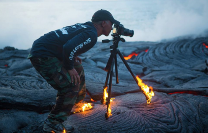 tripod on fire