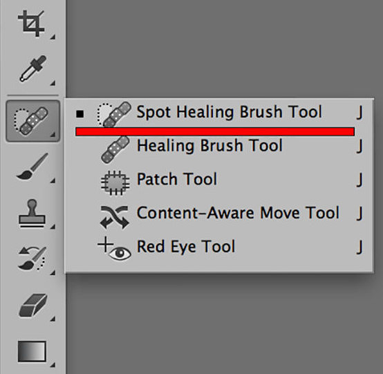 spot healing brush how to