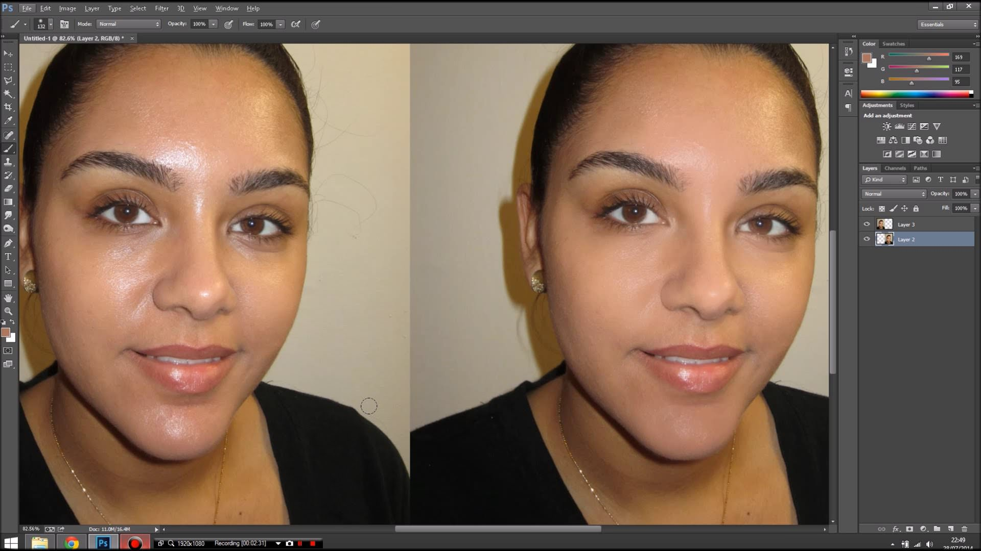 oily skin retouch photoshop