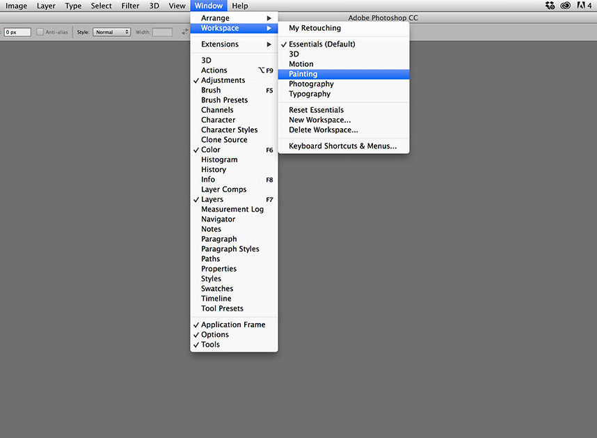 custom photoshop workspaces options