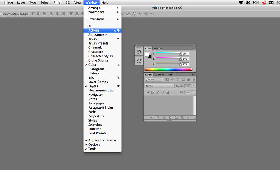 custom photoshop workspaces main menu bar