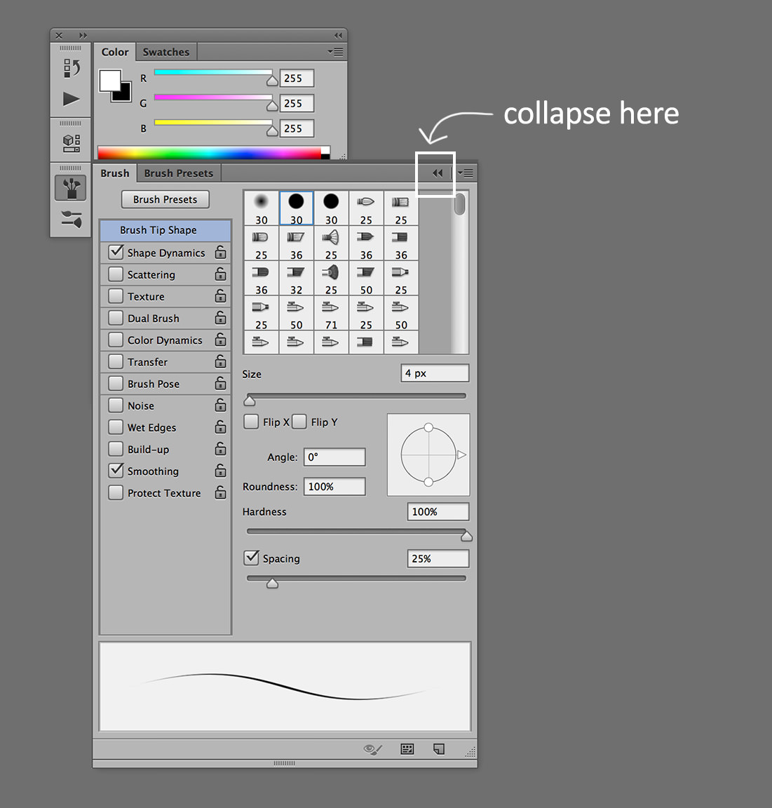 custom photoshop workspaces brush