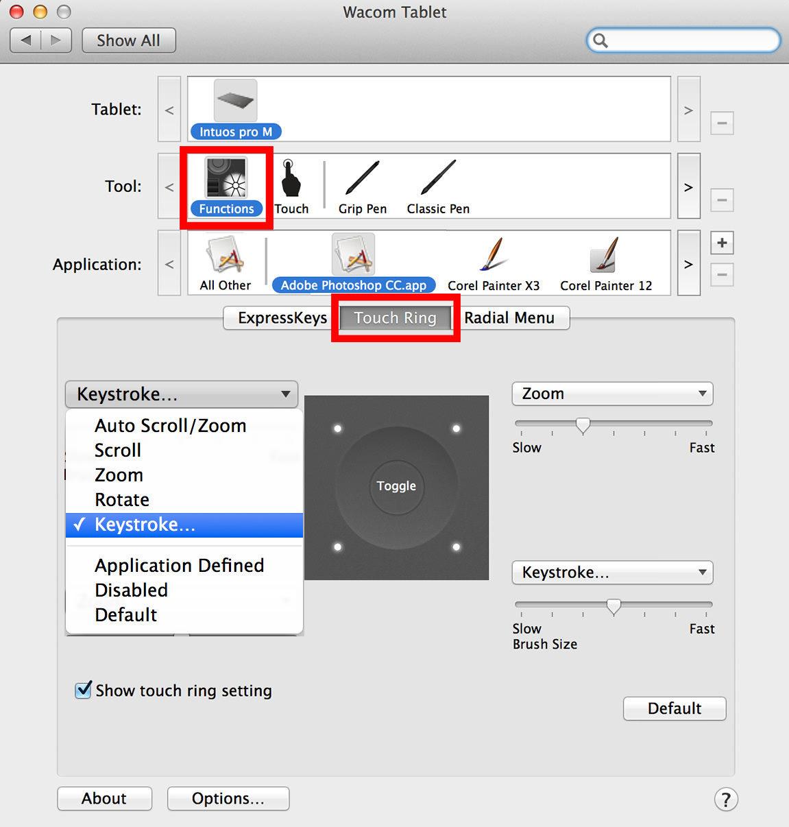 tablet shortcuts photoshop keystroke