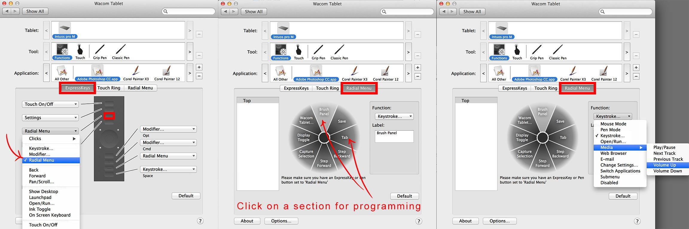 tablet shortcuts photoshop radial menu
