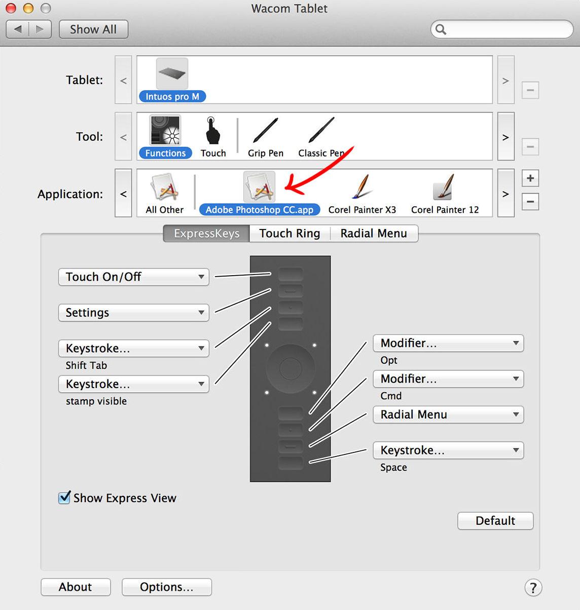 tablet shortcuts photoshop