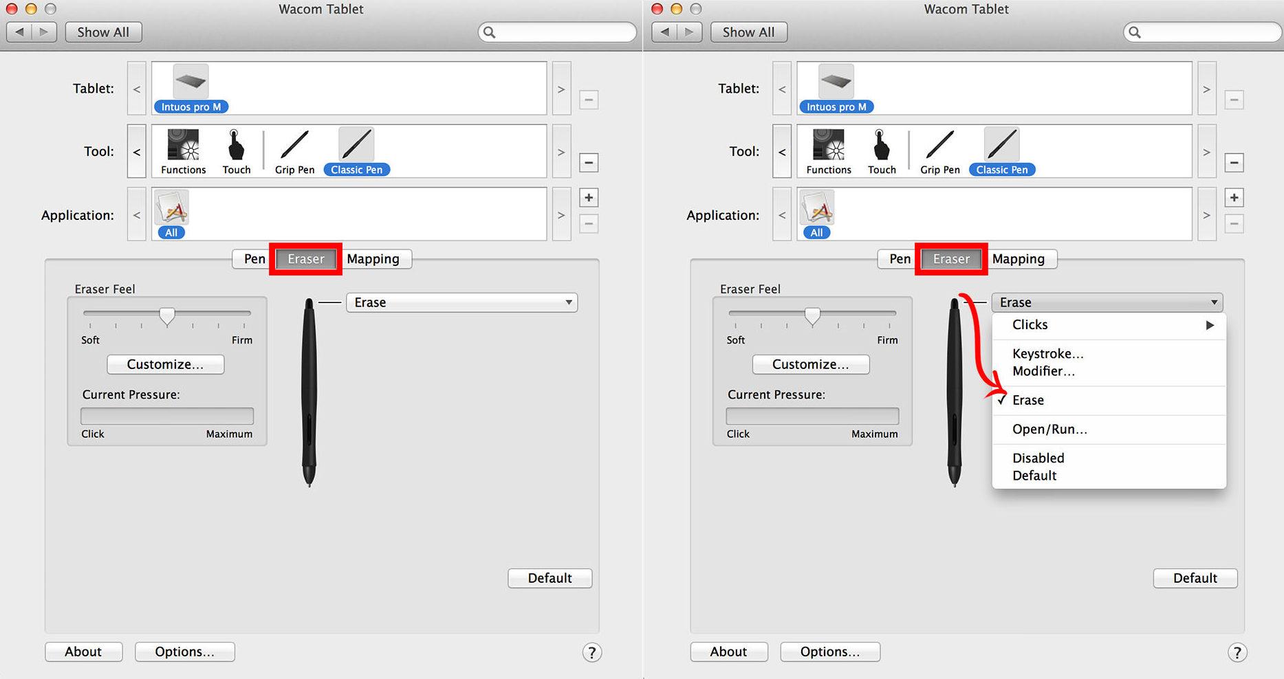 tablet shortcuts color window photoshop