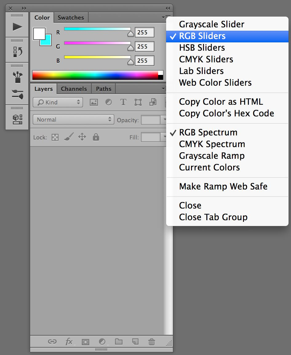custom photoshop workspaces color window