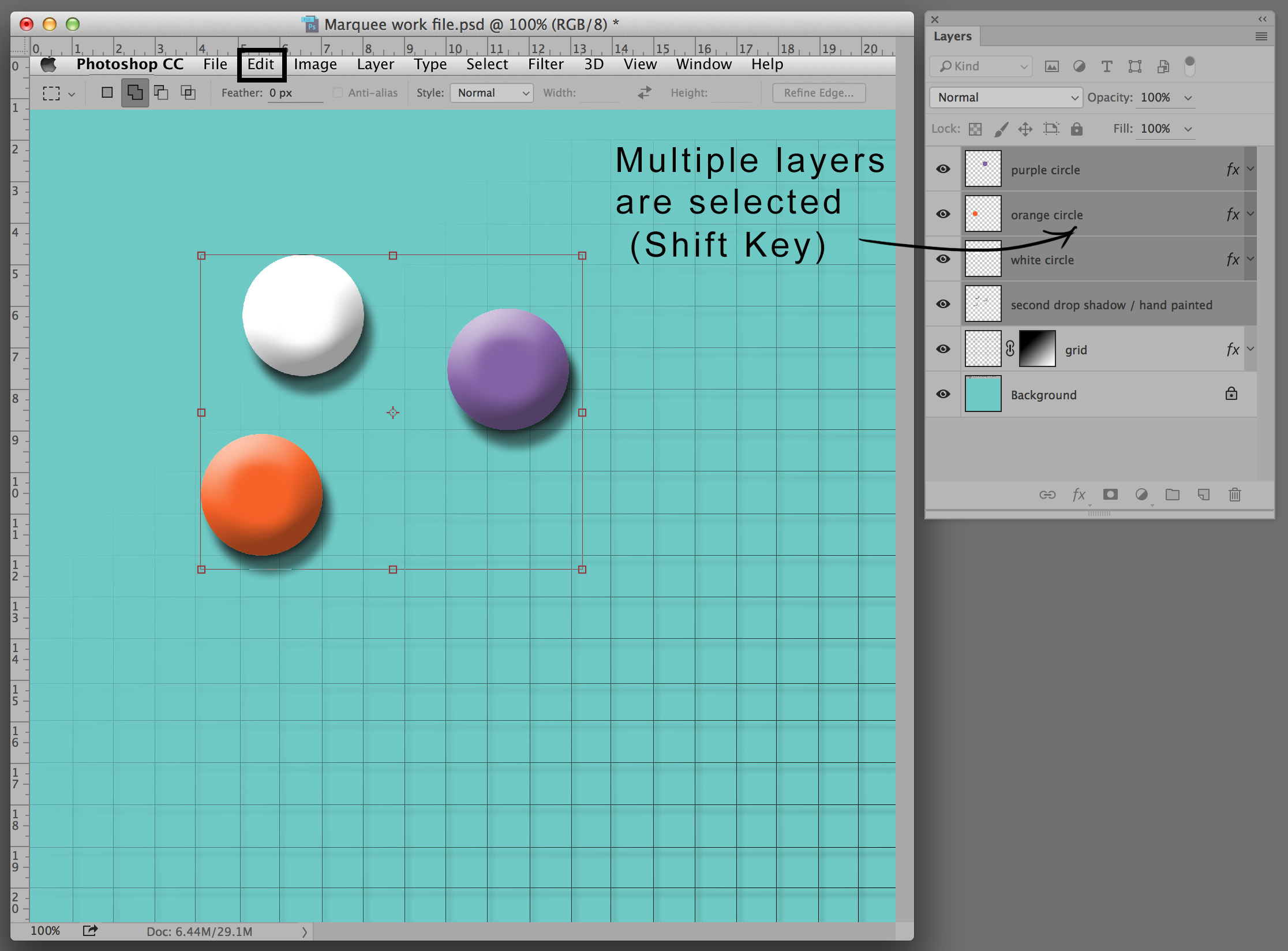 marquee tools multiple layers