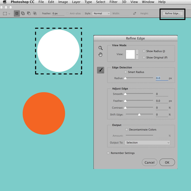 marquee tools refine edge