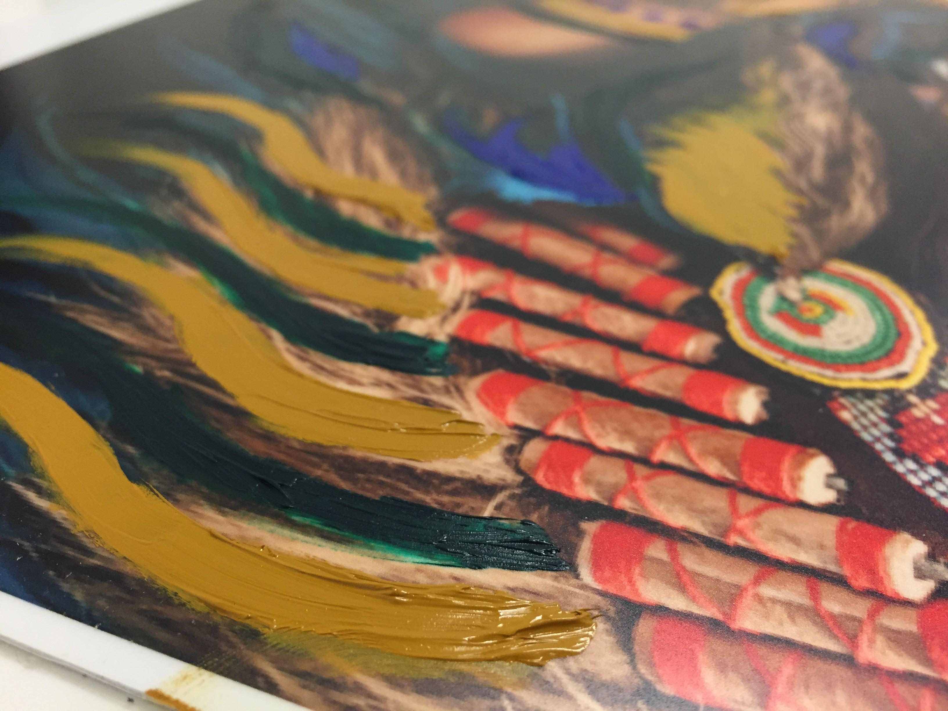embellishing laminated aqueous metal prints oil