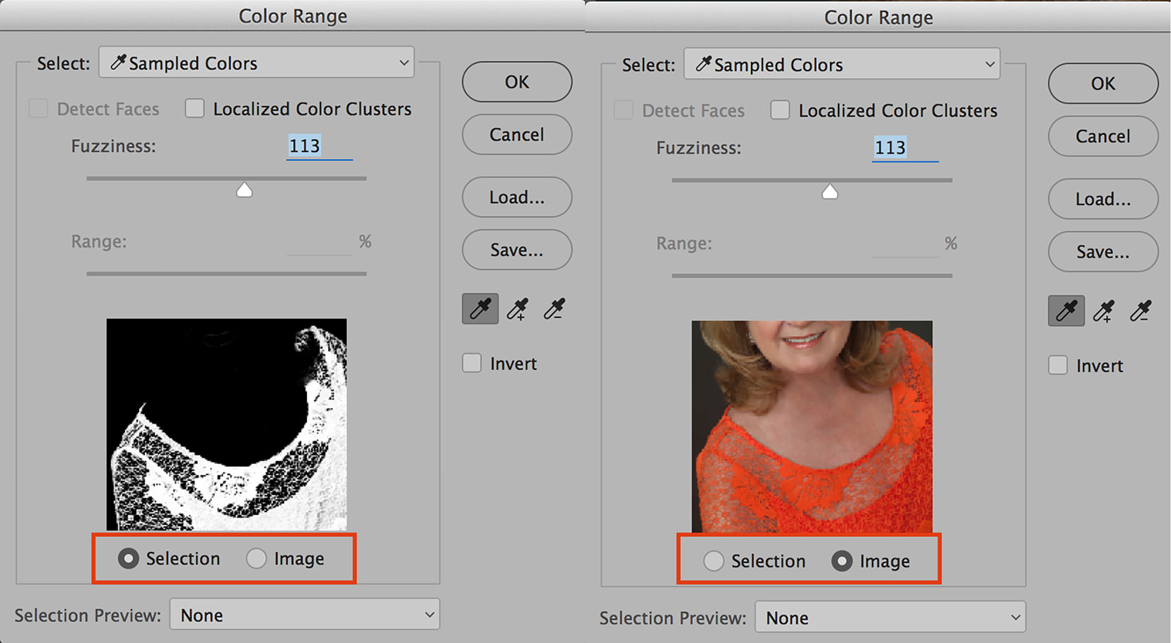 color range in photoshop selection and image views