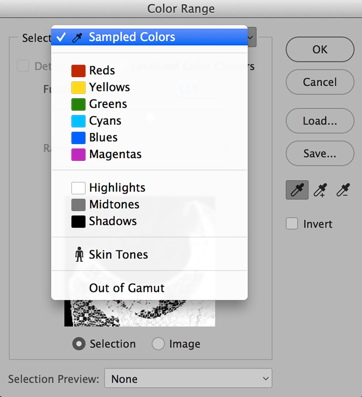 color range in photoshop sampled colors