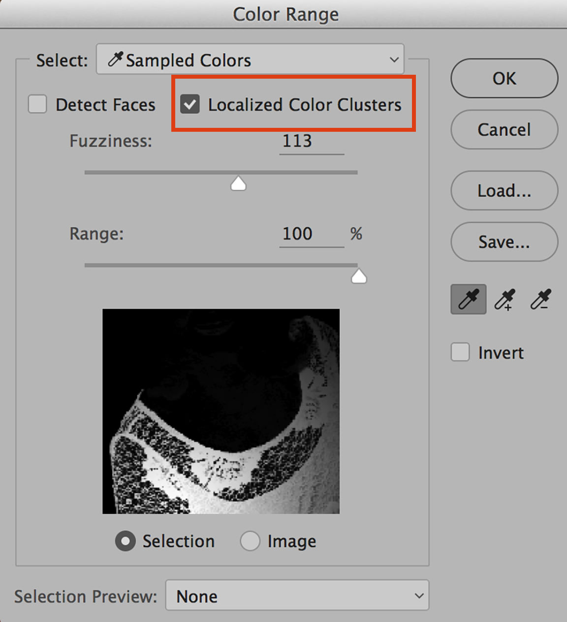 photoshop color range localized color clusters