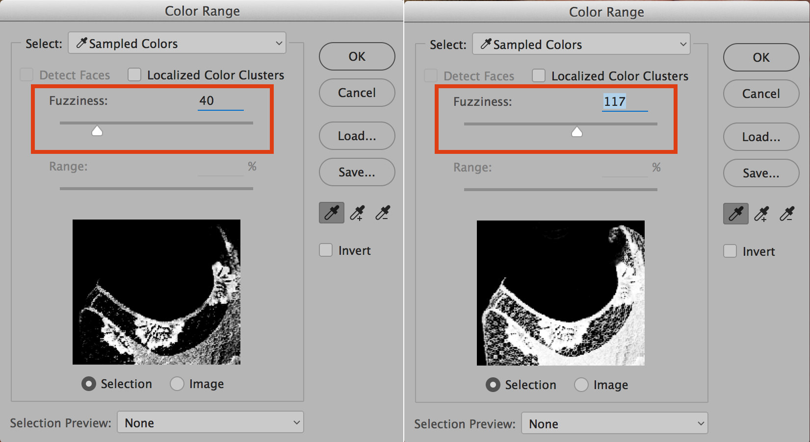 color range in photoshop fuzziness slider