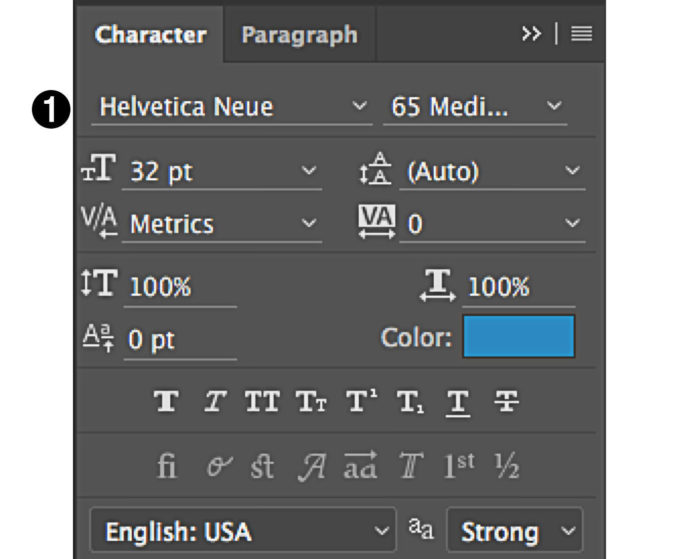 character panel in Photoshop select font