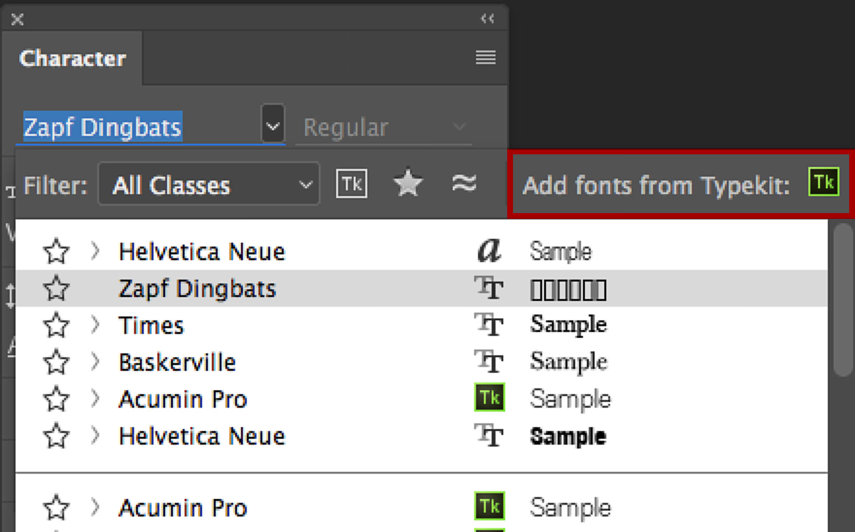 character panel in Photoshop font