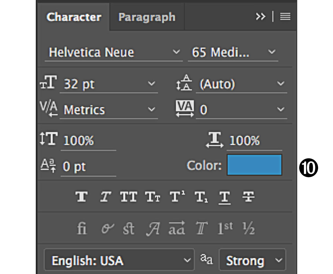 character panel in Photoshop color box