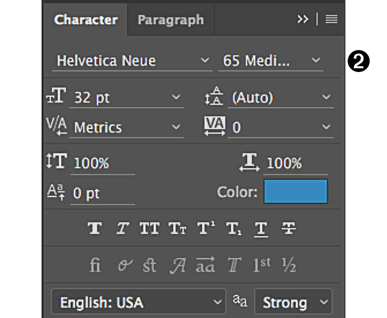 character panel in Photoshop styles
