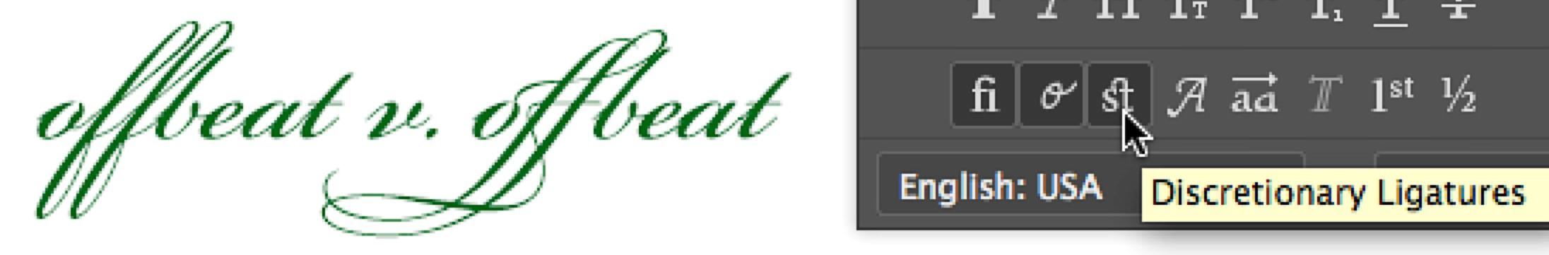 photoshop character panel glyph