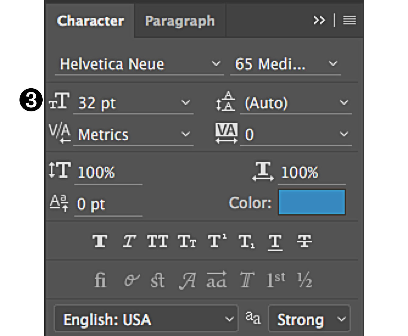 character panel in Photoshop type size