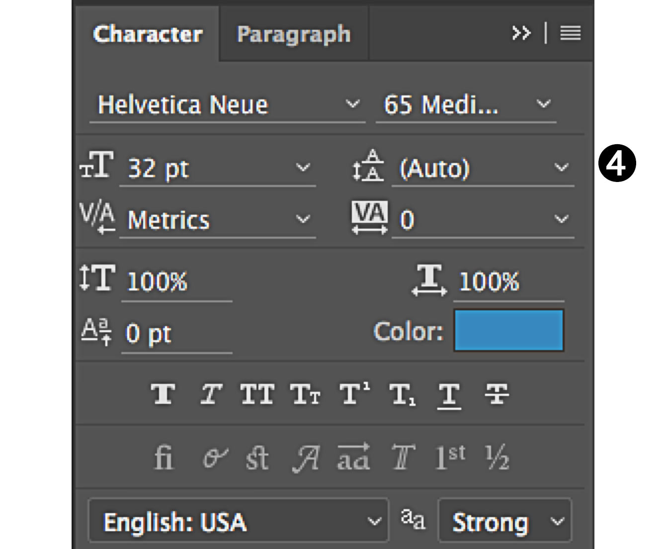 character panel in Photoshop select leading