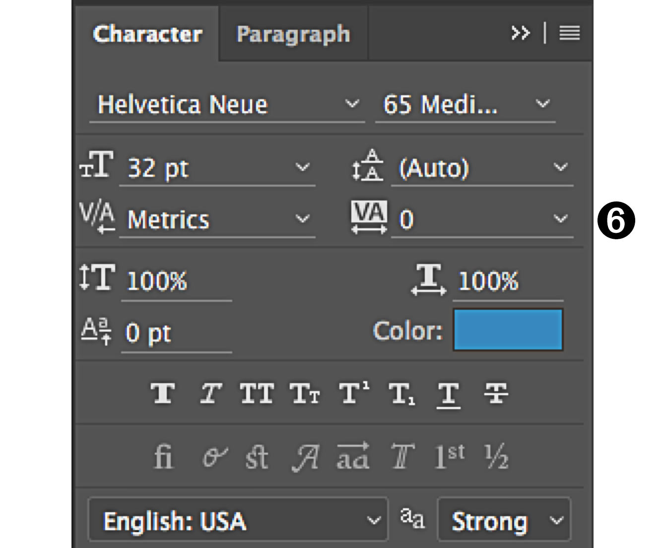 character panel in Photoshop tracking control
