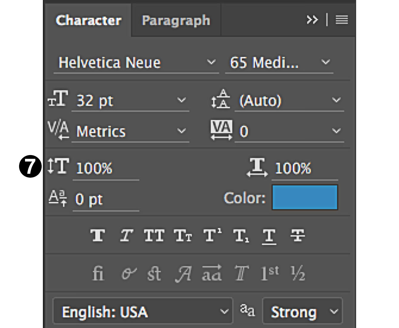character panel in Photoshop scale fonts type height