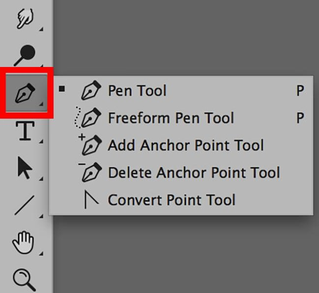 pen tool in photoshop toolbox