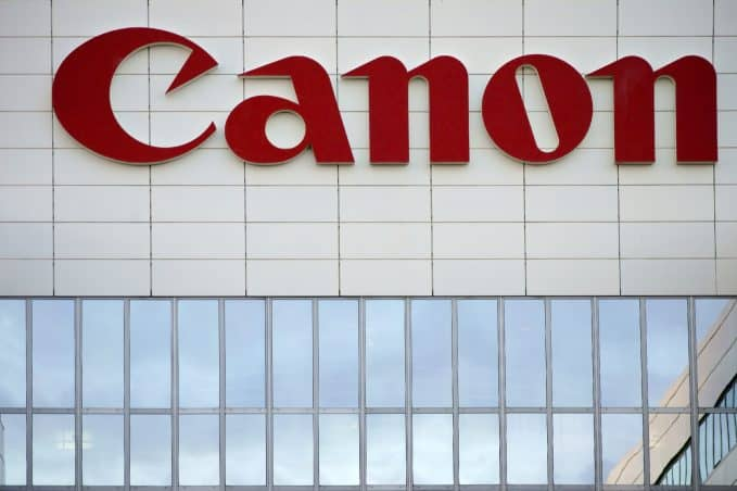 canon logo on building