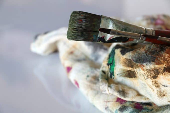 Gesso is a canvas primer - seen here close up of artist brush